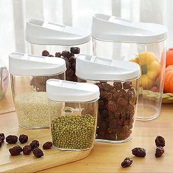 Recipiente De Almacenamiento De Alimentos De Plástico, Latas Selladas Para Alimentos Transparentes, Cinco Juegos