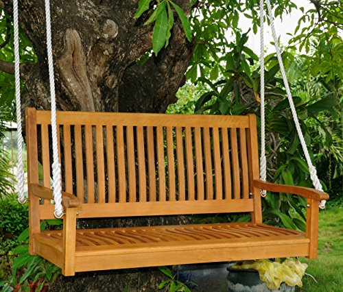 International Caravan TT-SW-007-IC Furniture Piece Royal Tahiti 48″ Straight Back Two Seated Swing, Brown Review