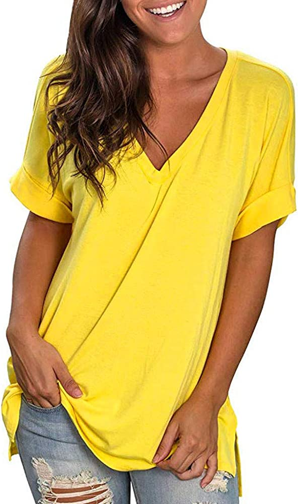 Womens Shirts Casual Tee Shirts Solid U Neck Short Sleeve Button Up Loose Fits Tunic Tops Blouses for Women