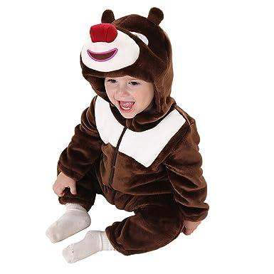 bd04aa06e862 Amazon.com  Baby Dinosaur Costumes Animal Romper Flannel Winter Warm ...