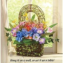 Fiber Optic Floral Moss Covered Rattan Basket, Floral