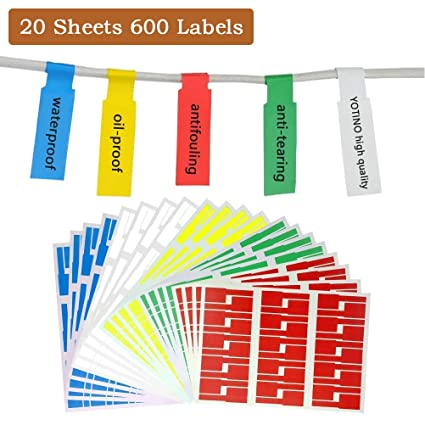 photograph about Printable Wire Labels identify YOTINO 20 Sheets Self-adhesive Cable Labels - Water-proof Tear Resistant - for Laser Printer (600 Labels, 5 orted hues)