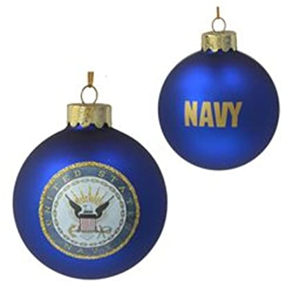 pack of 6 blue us navy armed forces glass christmas ball ornaments 3