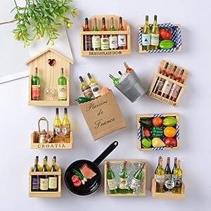 Fridge Sticker,8Pcs Simulated Cute Wine Bottles Holder Fridge Magnets for Home Wall Decoration Living Room