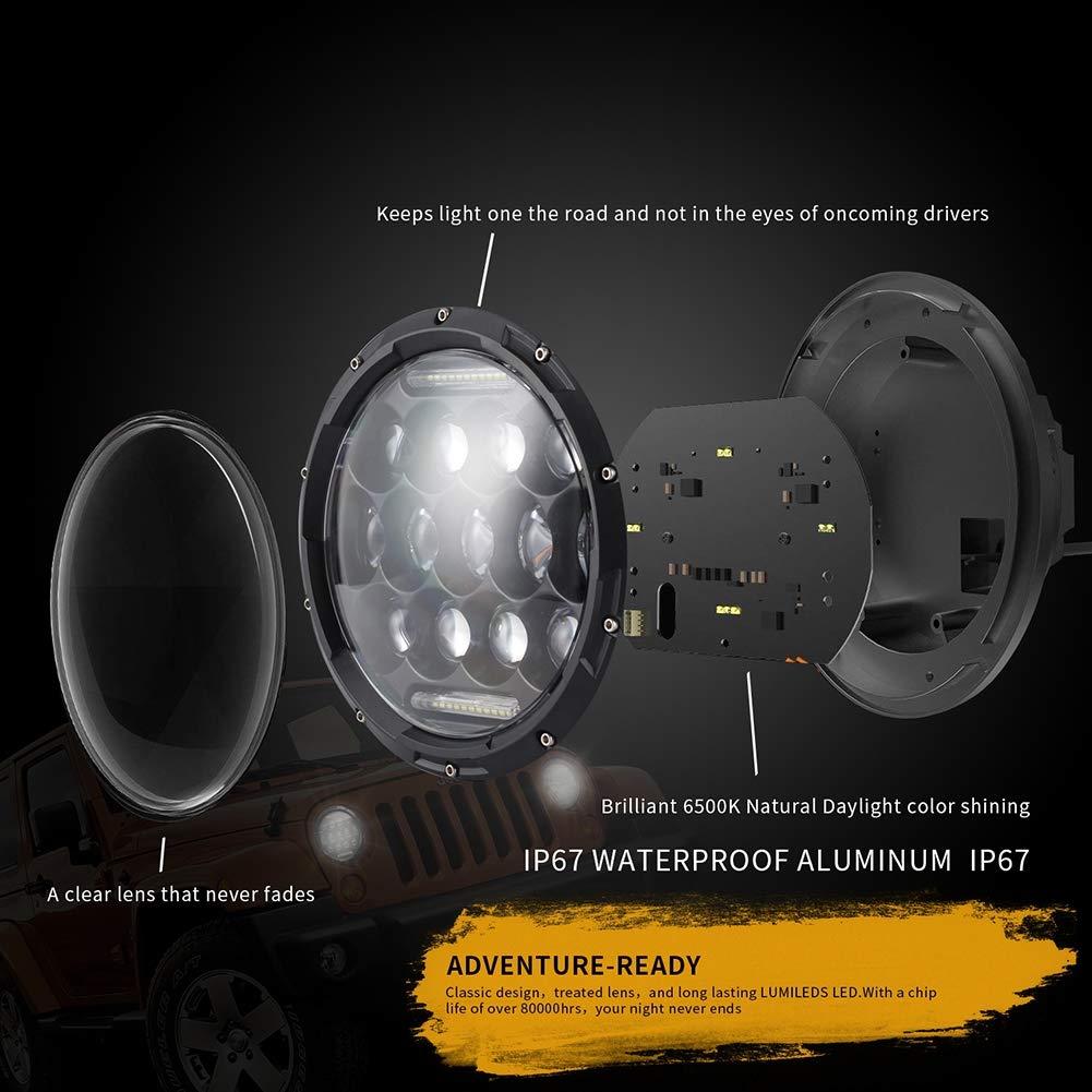 7 Pouces Modification de Phare Phare Conduite diurne lumi/ère Camion Feux de Travail Bande Lumineuse Hors Route 6500K projecteur ou projecteur Light Road IP65 Lot de 2