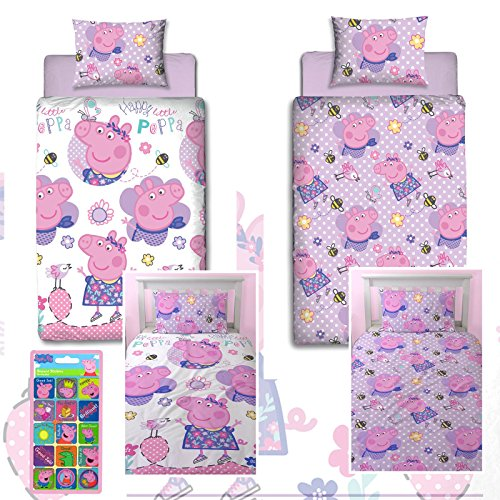 (Peppa Pig Happy UK Single/US Twin Rotary Duvet Cover & Peppa Pig Small Reward Stickers)