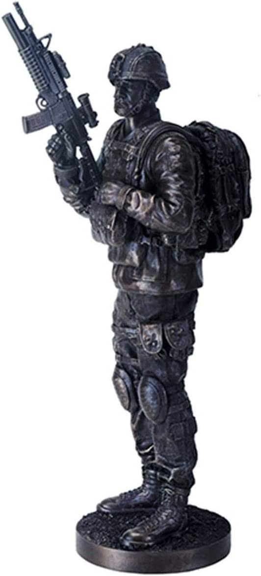 YTC 14 Inch Black Navy Seals Figurine on Guard with Rifle and Full Gear