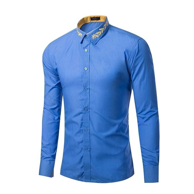 Honghu Slim Fit Cuello de la Camisa Clásica Business Camisas Manga Larga para Hombre: Amazon.es: Ropa y accesorios