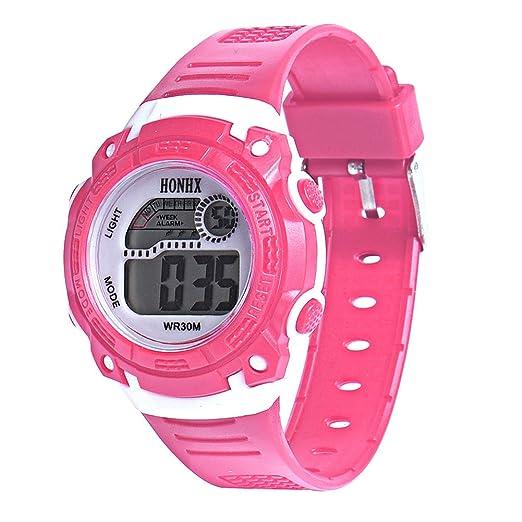 RLFS Reloj Digital multifunción Impermeable para niños con LED (Rosa Brillante) por: Amazon.es: Relojes