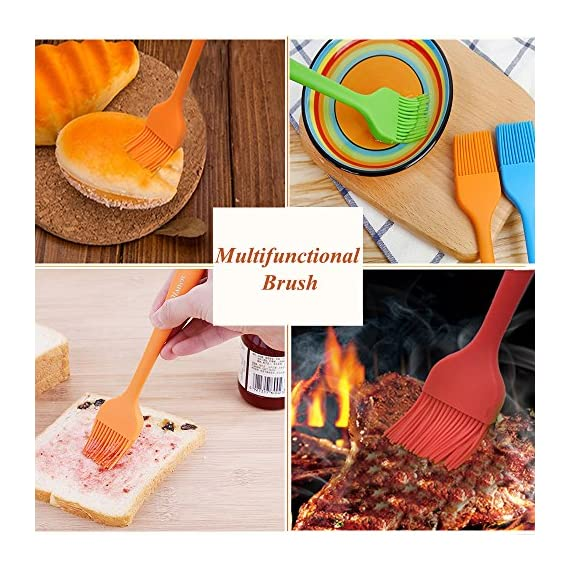 Silicone Basting Brush Pastry Brush Set (Set of 4), Heat Resistant Brush and Dishwasher-safe Perfect for Cooking, Baking, Grilling, Basting and Marinating- Colourful 6 Basting Brush Set: Whether baking, grilling, basting and marinating, barbecue and family gatherings, silicone oil brush a large and a small, fully meet the cooking needs. 100% Food Grade Silicone: The brushes are made with a high performance 100% food grade silicone, with a steel core inside, FDA approved & BPA free. Don't Need to worry about toxins leaching into your food. Heat Resistant Brush: It can withstand heat up to 600 degrees Fahrenheit. It is safe to use for BBQ, baking, even cooking in a frying pan.