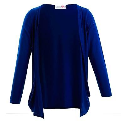 Farstowe New Girls Cardigans Kids Plain Long Sleeve Boyfriend Cardigan with  2 Pockets Royal Blue 2 f9a6d62cf