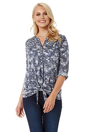 6c26be10 Roman Originals Women Ditsy Floral Print Shirt - Ladies Ruffled Tie Front  Hem 3/4 Roll Up Sleeves Spring Summer Cotton Blouse: Amazon.co.uk: Clothing