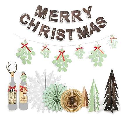 Paper Christmas Decorations.Amazon Com Easyjoy Retro Christmas Decorations Kit Table