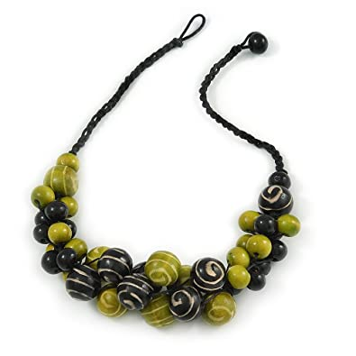 Avalaya Apple Green Wood Bead Cluster Black Cotton Cord Necklace - 72cm L wiJ4Mqzd