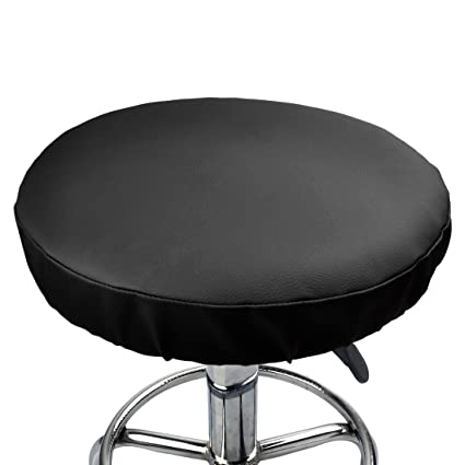 Outstanding Zhaoke 1 Piece Faux Leather Stool Cover Round Bar Stool Chair Cover Slipcover Seat Cushion 13Inch 33Cm Black Machost Co Dining Chair Design Ideas Machostcouk