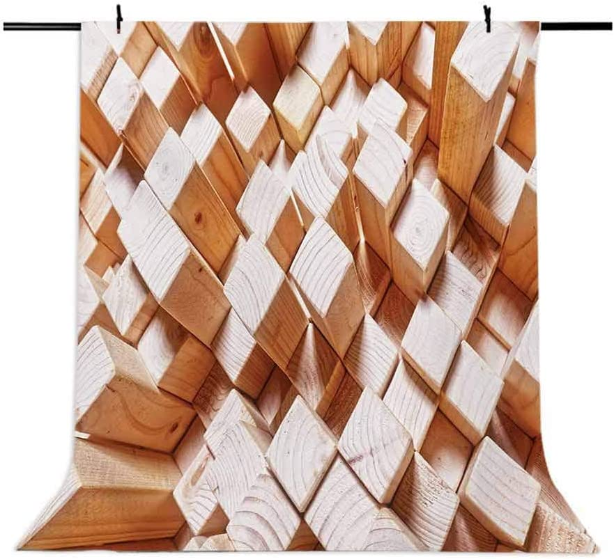 6x8 FT Photo Backdrops,Natural Wooden Rustic Style Square Figures High and Low Oak Logs Timbre Design Background for Kid Baby Boy Girl Artistic Portrait Photo Shoot Studio Props Video Drape Vinyl