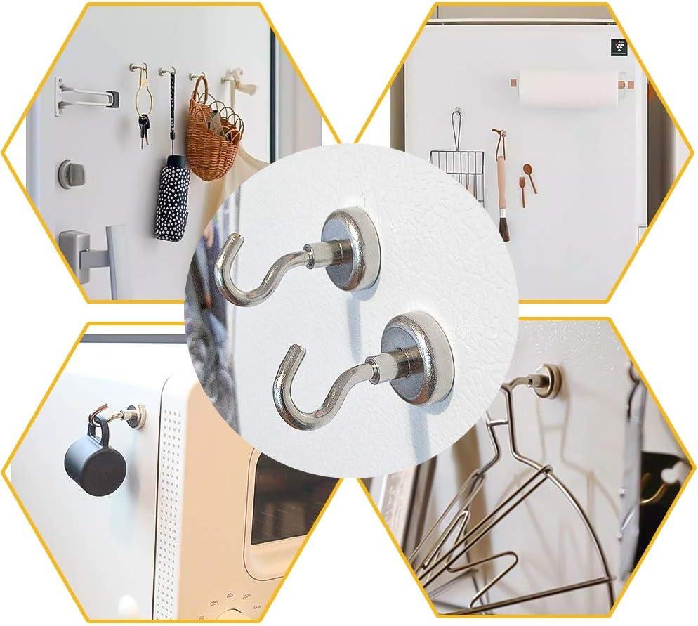 12 St/ück Magnethaken,Magnet Haken h/ält 8Kg Extra 12 Ringhaken Magnete mit Haken f/ür K/üche Badezimmer Schlafzimmer Garage Schlie/ßf/ächer B/üro K/ühlschrankmagnet Schl/üsselhalter