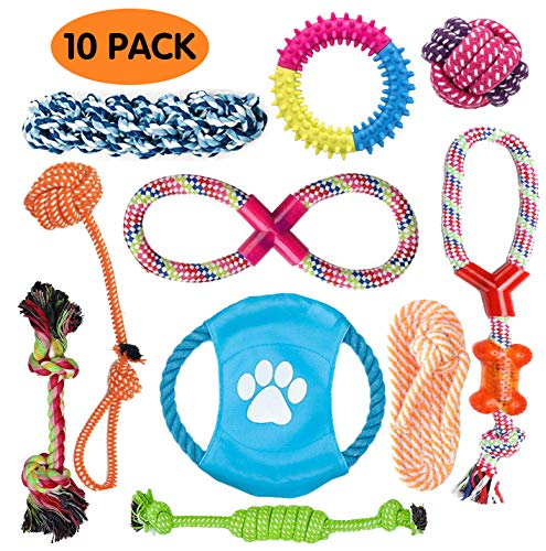 (PG.KINWANG Dog Toys - Dog Rope Toys for Aggressive Chewers - Cotton Rope Toys- Frisbee - Dental Toys - Dog Bones - Dog Ropes - Tug of War Ball,10 Most Popular Dog Toys for Small Medium Dogs & Puppies)