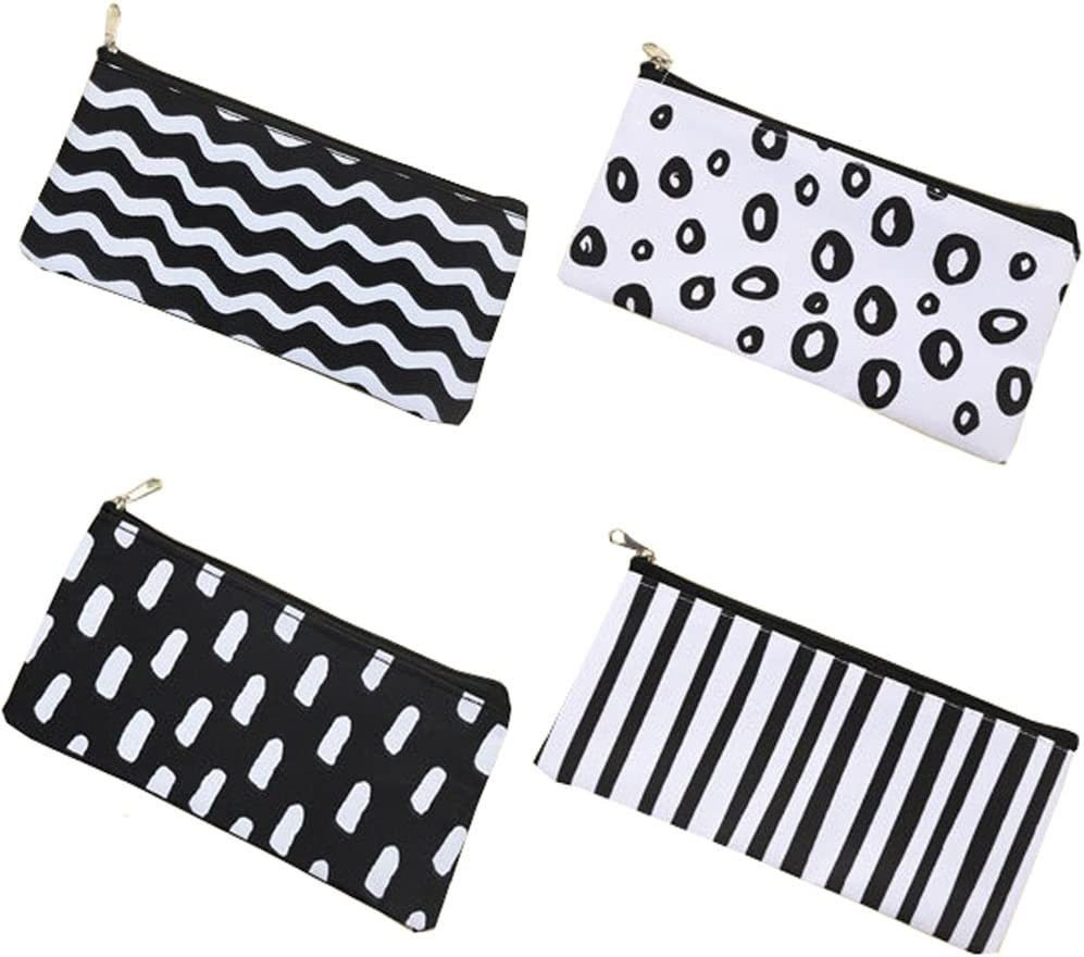 Long Size, Black and White HappyDaily 4 Pack Beautiful Pencil case Pen Bag or Cosmatic Bag Makeup case or Coin Purse Pouch