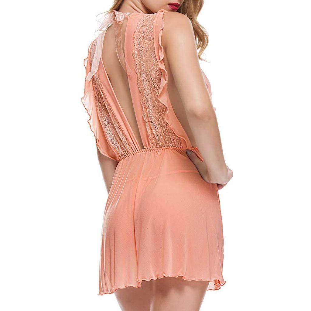 K-youth Lencería Erotica Mujer Conjunto de Lencería Mujer V Profundo Camisón Sexy Perspectiva Ropa Erótica Babydoll Encaje Tul Ropa Interior Pijama Ropa de ...