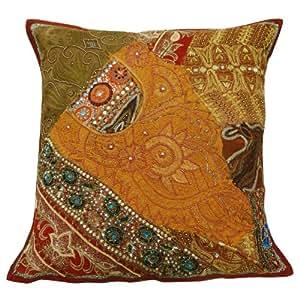 caja anaranjada decoración del hogar cojín almohada cubierta labor de retazos bordado lanza arte indio 22 x 22 pulgadas