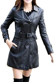 51a5acd44381 Nouveau Mode pour femme simili cuir noir manches double boutonnage ...