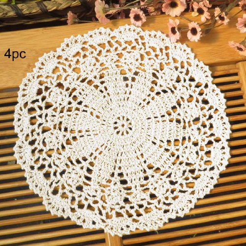 - kilofly Crochet Cotton Lace Table Placemats Doilies Value Pack, 4pc, Persia, White, 10 inch