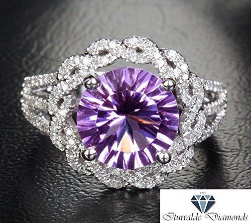 14k Round Cut Amethyst Diamond Pave Braided Halo Triple Shank Engagement Ring