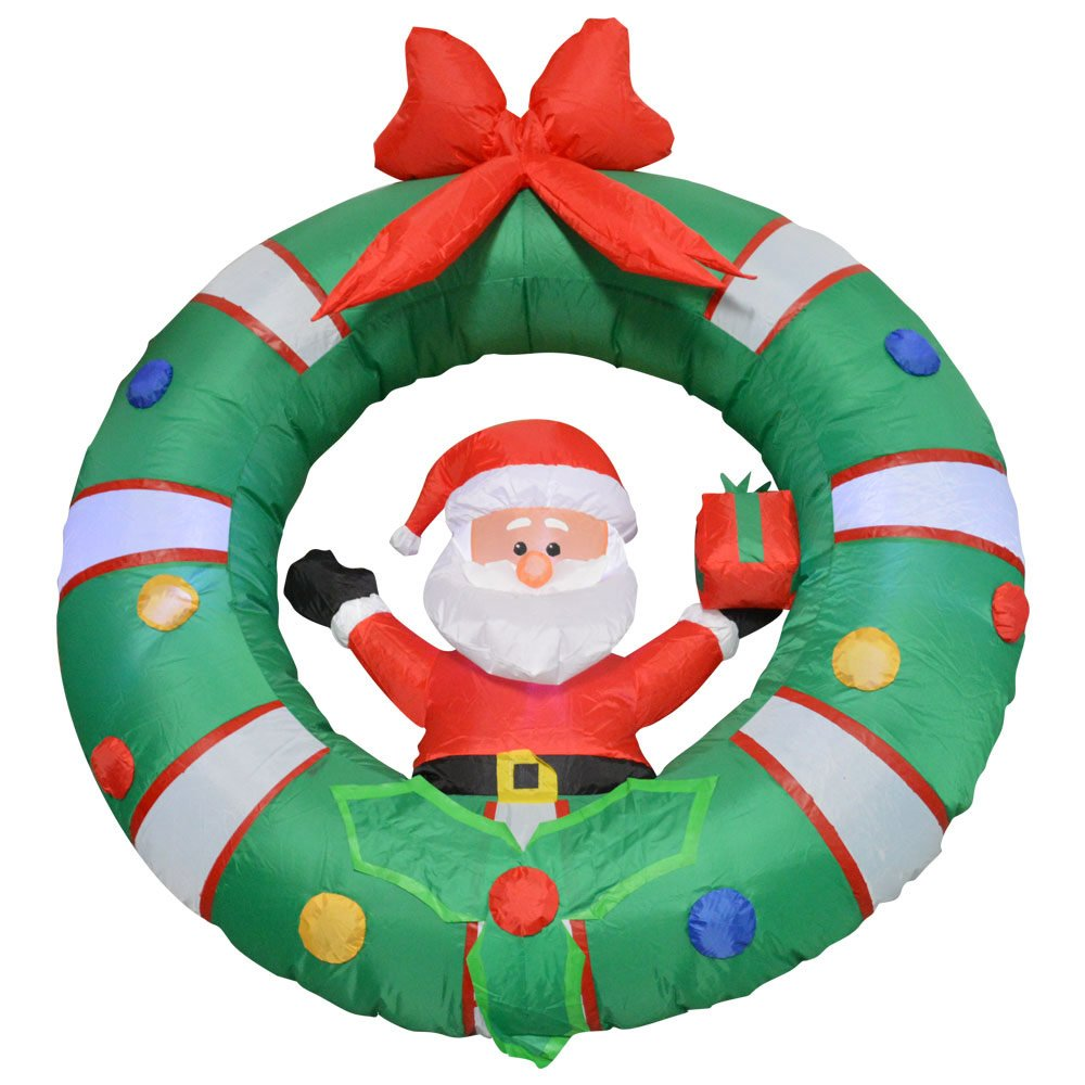Impact Canopy 513001000-VC Santa with Wreath Inflatable Holiday Decoration, 4' by Impact Canopy (Image #1)