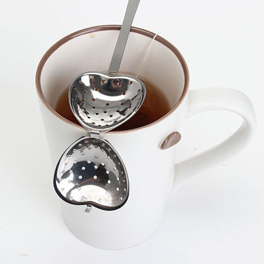 Andifany 2pzs Filtros infusor de Acero Inoxidable de la Forma del Corazon Invita a Tus Amigos a Tomar el te de la Tarde