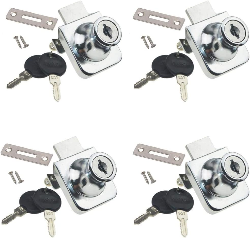 Jinyuanchao Showcase Lock,Drilling Glass Door Rotate,No Drill Glass Door Lock Display Cabinet Double Door Lock with Key for 5.5-9.5mm Glass Door 4PCS
