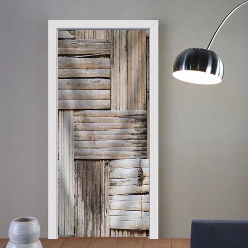 Gzhihine custom made 3d door stickers Bamboo Texture and Background Fabric Home Decor For Room Decor 30x79