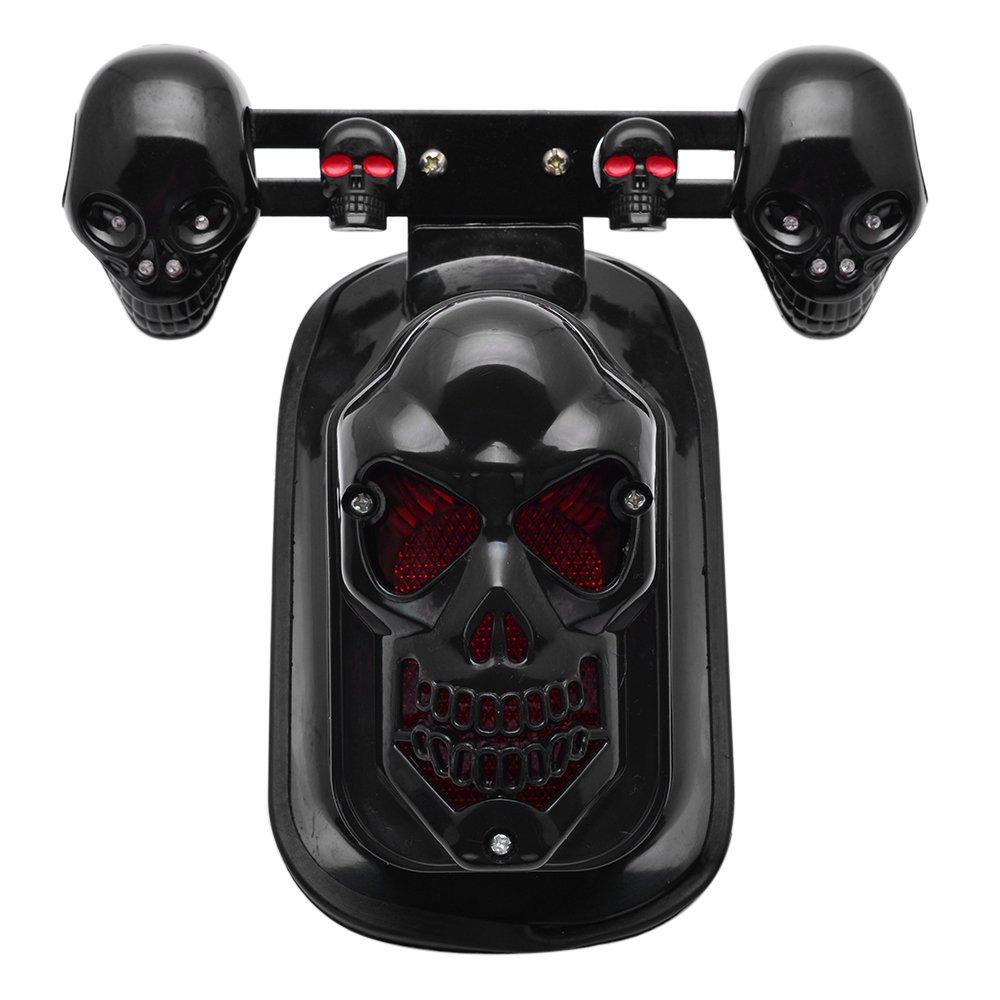 Black Motorcycle Skull Brake Stop Tail Lamp Integrated Turn Signal Light For Harley Honda Kawasaki Suzuki Yamaha Custom
