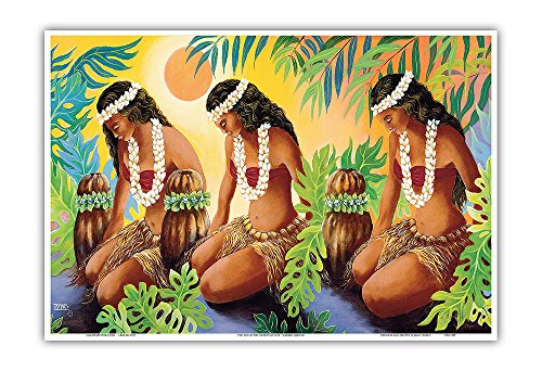 (Pacifica Island Art The Sun at the Source - Hawaiian Hula Dancers - Original Color Painting by Warren Rapozo - Hawaiian Master Art Print - 13 x 19in)