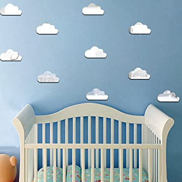 Decalmile 10 Stuck 3d Wolke Spiegel Wandtattoo Kinderzimmer