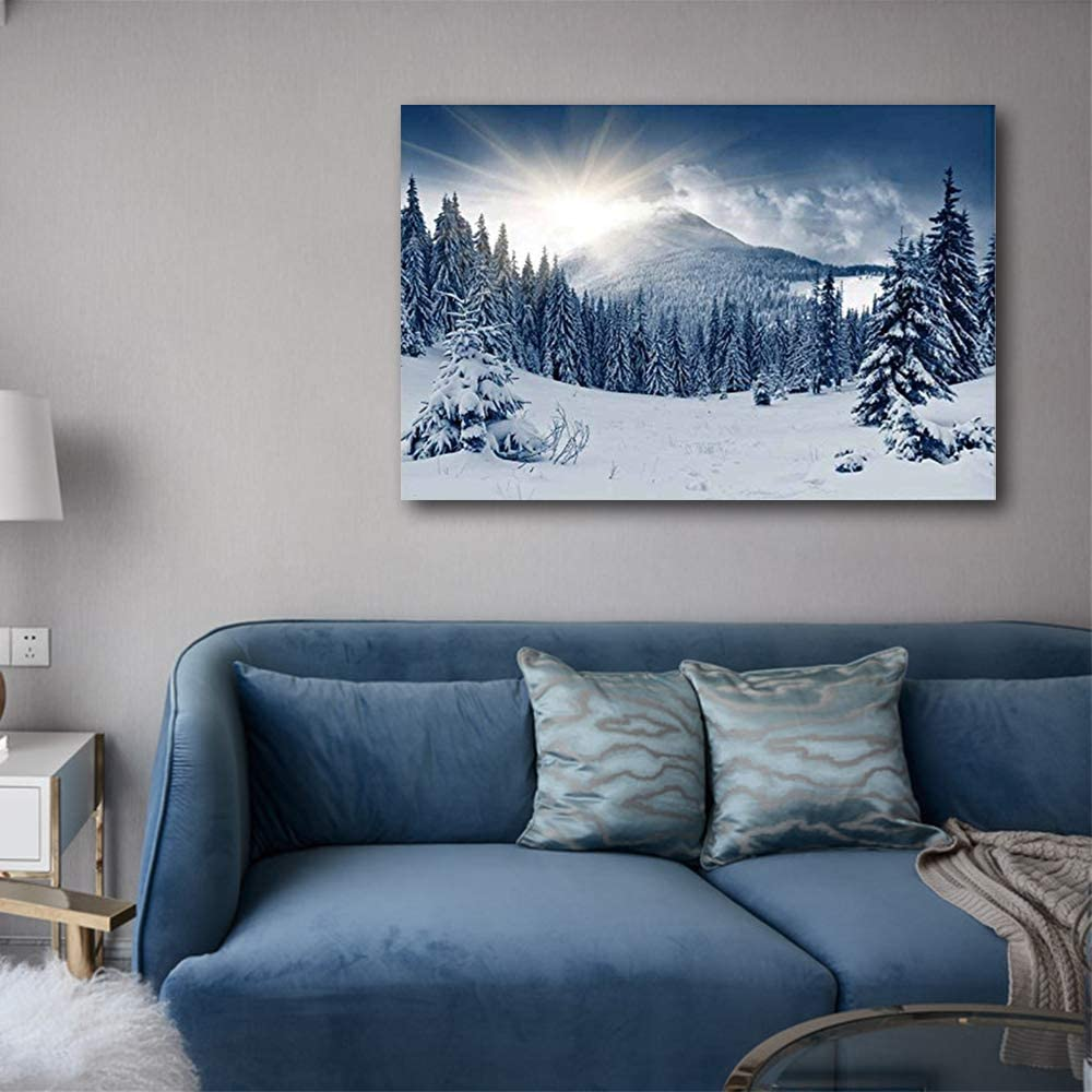 Winter Mountain Snow Covered Trees - Canvas Art Wall Art - 16
