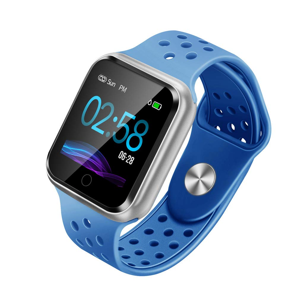 YNAA for Android iOS, Breathable Sport Smart Watch, Health Blood Pressure Heart Rate Monitor Pedometer Tracker Smart Bracelet (Blue)
