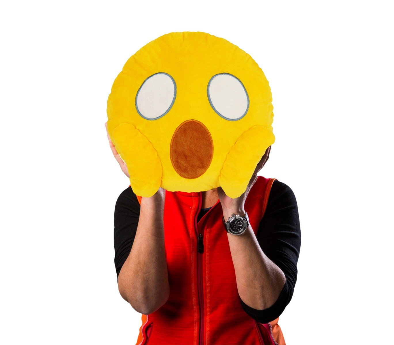 MEDIA WAVE store 557315A Cuscino Emoji Viso Che urla dalla Paura Colore Giallo /ø 30 cm Circa