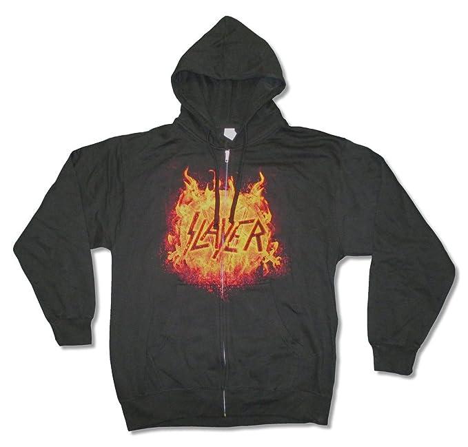 Slayer Flaming Eagle Logo Mens Zip Up Black Sweatshirt Hoodie