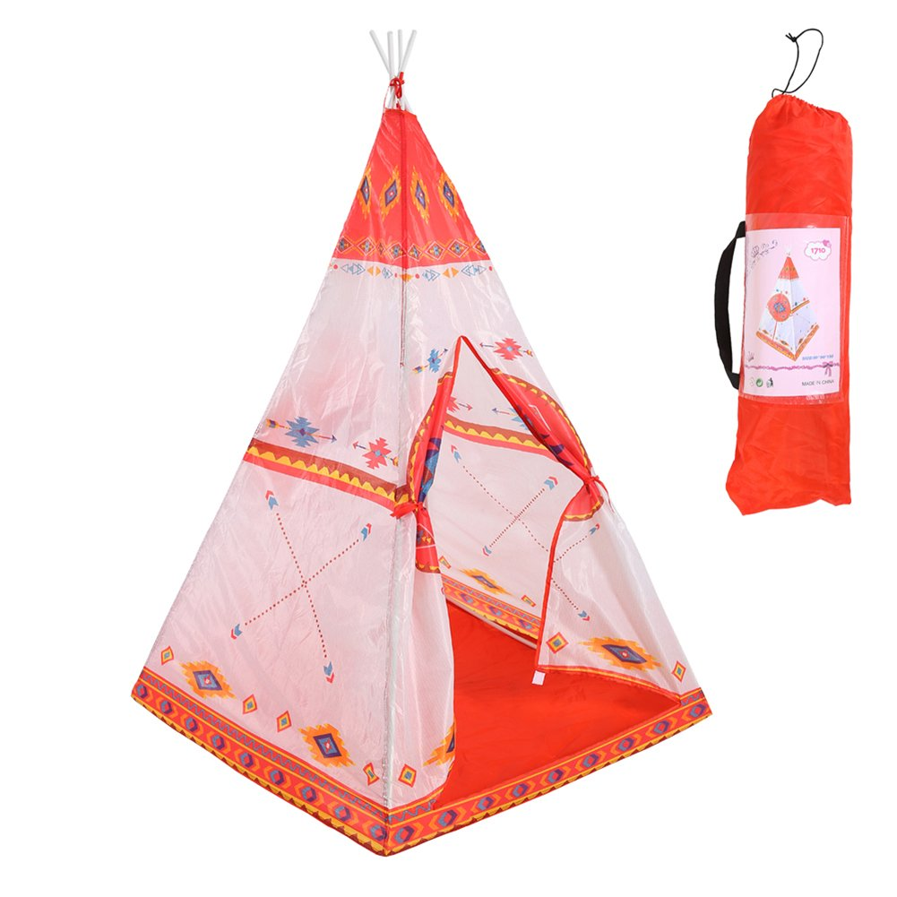 Waliga Kids Toddlers Classic Indian Play Tent and Carry Bag Teepee for Girls Boys Children, Lightweight Easy Setup Canvas Tipi