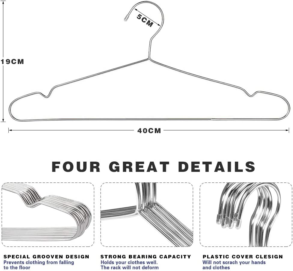 40 Pack Stainless Steel Strong Wire Clothes Hangers-16.5 Inch Silvery TUXWANG Metal Hangers