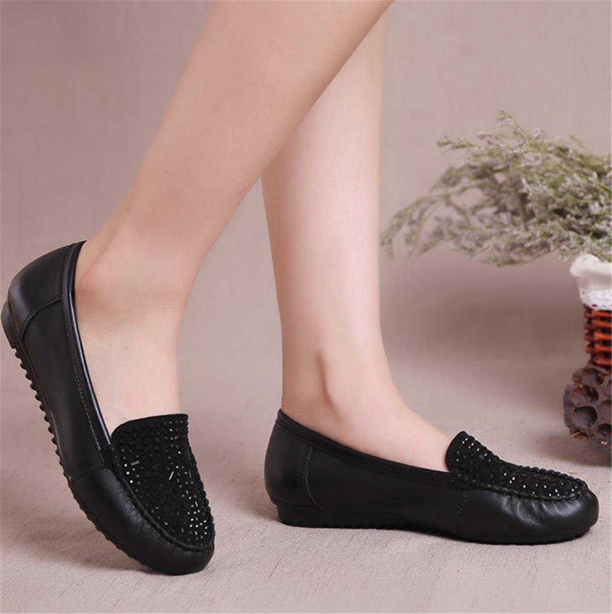 Damen Flats Single Schuhe Loafer Neue Freizeit Komfort Soft Echt Leder Pumps Anti-Rutsch Soft Komfort Bottom Schwarz Herbst Frühling Party Work 53e7cf