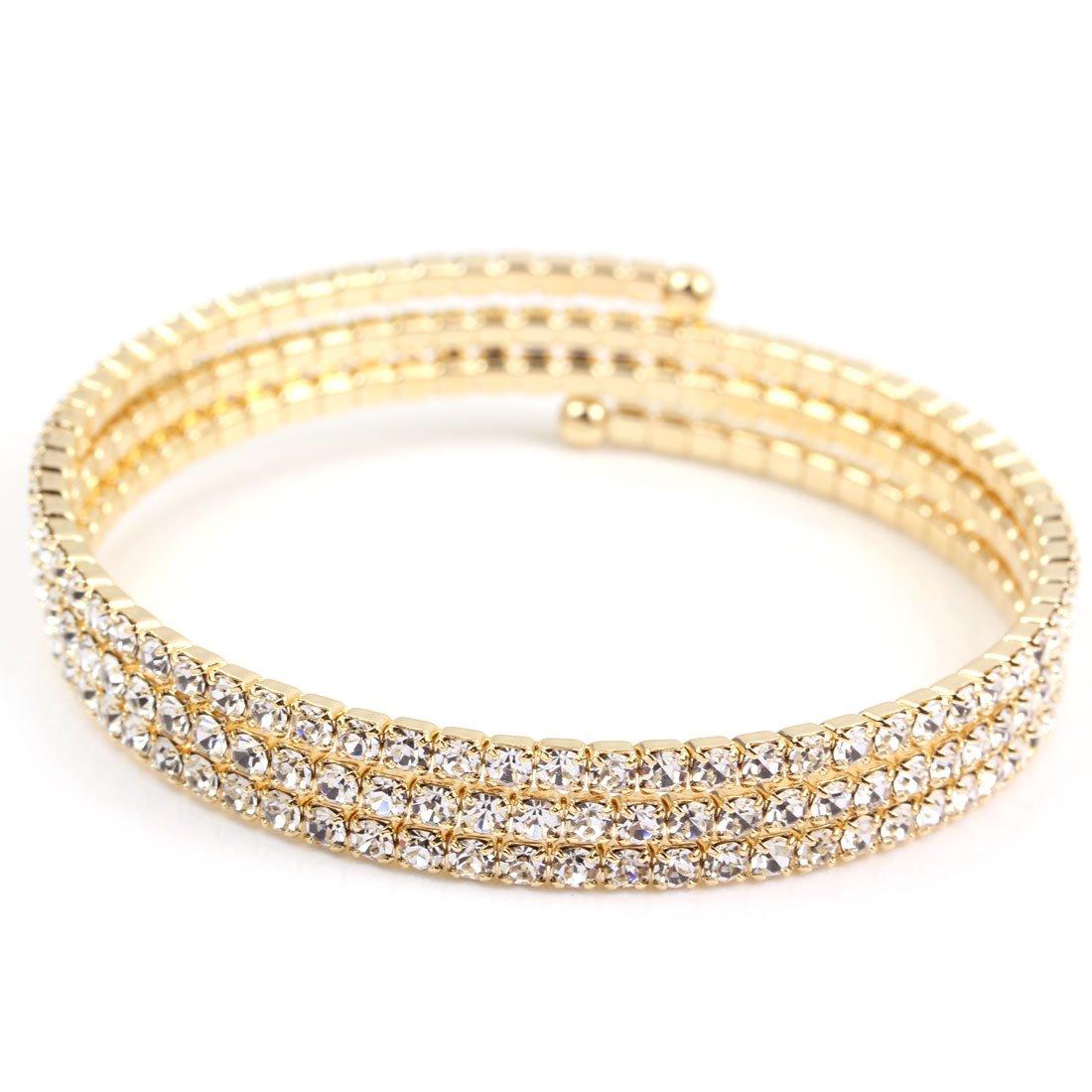 FC JORY Yellow Gold GP CZ Paved Crystal Twisty Tennis Wrap Wedding Tone Bracelet