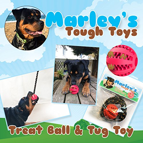 - Super Tough Teeth Cleaning, Stimulating, Treat Dispensing Dog Toy. Durable Safe Rubber, Comes with A Detachable Rope to Make an Interactive Tug Toy for Your Dog, As Approved by Marley The Rottweiler