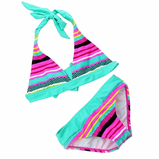d30663ddb Image Unavailable. Image not available for. Color  HuntGold Kids Children Girls  Summer Stripe Stretchy Bikini Two-Pieces Swimsuit ...