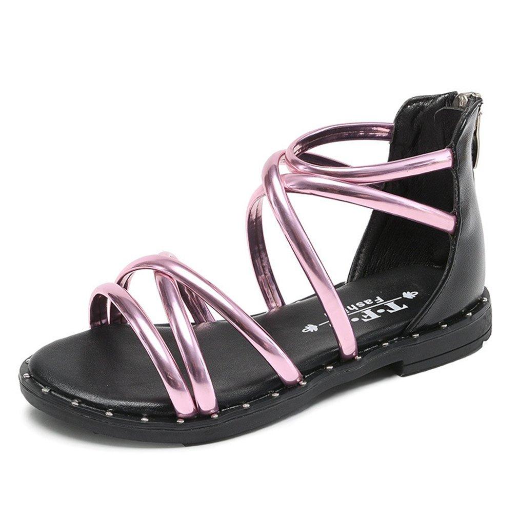 CYBLING Girls Strappy Sandals Gladiator Zipper Outdoor Kids Summer Shoes (Toddler/Little Kid/Big Kid)