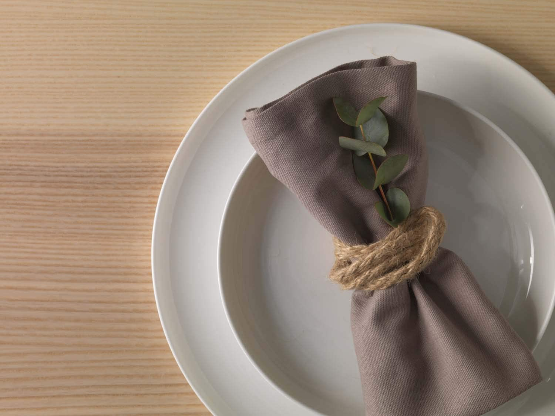 Serviettes Coton Serviette de Table Dutch Decor Serviettes Gent 6 Taupe Serviette Linge de Table