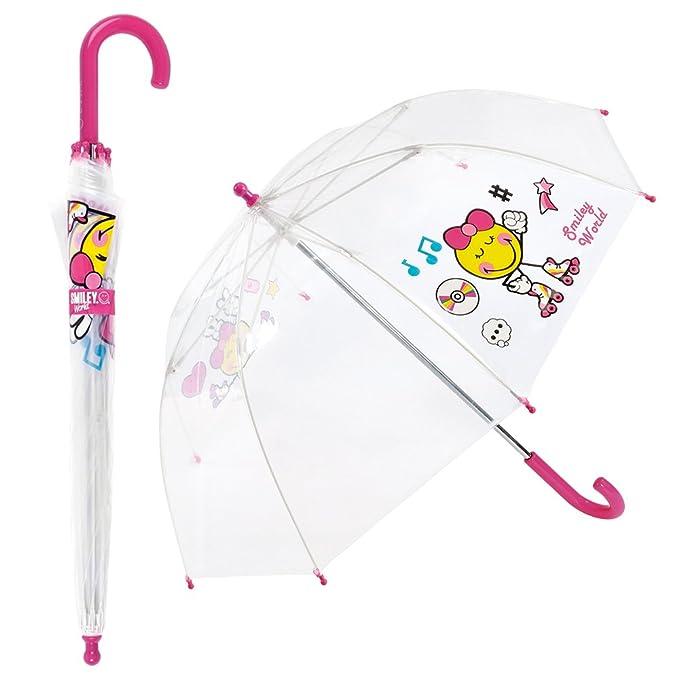 Smiley - Paraguas Infantil Transparente para niño - Cúpula - Antiviento - Manual - Azul: Amazon.es: Equipaje
