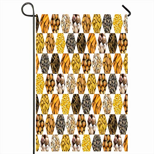 Ahawoso Garden Flag 12x18 Inches Apricot Cashew Pattern Nuts Coconut Black Almonds Hazel Aroma Aromatic Assortment Blank Corn Flavor Decorative Seasonal Double Sided Home House Outdoor Yard Sign