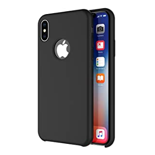 Arteck iPhone X/iPhone Xs Case, Liquid Silicon Rubber iPhone Xs (2018) iPhone X (2017) 5.8 inch Shockproof Case with Soft Microfiber Cloth Cushion - Black